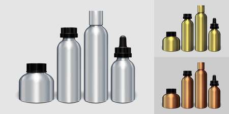 Silver, gold, copper aluminum bottle Packaging Mock up set ready for your design