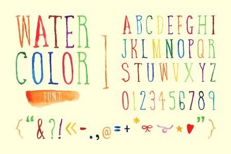 all purpose: Colorful vector hand drawn watercolor font. Can used for all purpose.