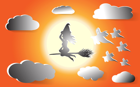 Witch flies on a broom in the orange sky on the background of the full moon. And gray clouds with five ghosts Halloween vector illustrations