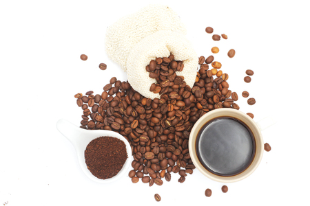 Coffee beans, grinded coffee, and black coffee ready to drink, white background, illustration