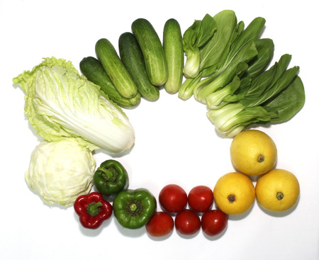 Variety of vegetables on a white background 스톡 콘텐츠