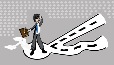 Businessmen and path selection in working with a stable position and financial advancement, illustration - vector Çizim