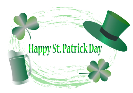 St. Patricks Day greeting card with happy letters, illustration - vector Illustration