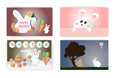 Happy Easter concept With a cute little rabbit and a colorful egg, Happy Easter concept With a cute little rabbit and a colorful egg, There are 4 styles,For cards, posters, flyers and other users,illustration-vector, illustration-vector