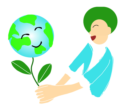 Happy world day Friendship and environment concepts Earth Day, Earth Conservation, Natural and Human Happiness Join hands to take care of the world - vector Illustration