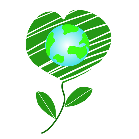 Happy world day Friendship and environment concepts Earth Day, Earth Conservation, Heart of Nature - Vector