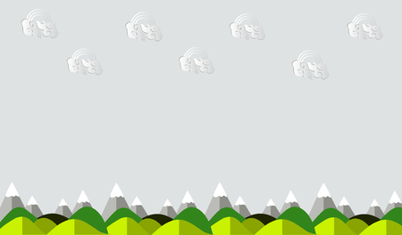 Natural background Mountain view and background clouds for text input or display various advertising tasks - vector