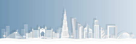 Dubai city in a panoramic view with the city skyline with important landmarks and world famous Vector style paper cut-  illustration Vector