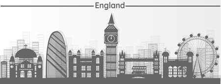 Night shadows reflect London, England , with a sense of world-class landmarks, illustrations, travel, paper-cutting with world-class significance - London's vector.