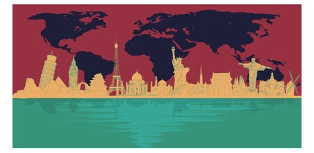 World-famous landmarks with map backgrounds and reflections from colorful rivers. Travel business concept, travel, calendar, aviation business, asia and europe - vector