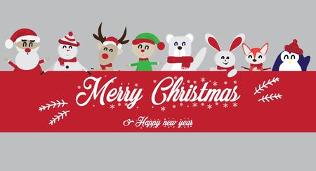 Merry Christmas and Happy New Year.Many cute cartoon characters, such as Santa Claus, reindeer, elves, bears, step, world, fox, penguin, rabbit, with a red label - vector.