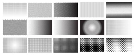 15 black and white line background patterns for cards, textures, banners, web - vector Illustration
