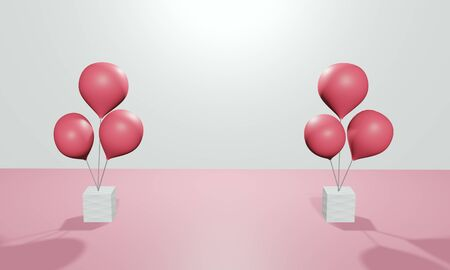 Red balloons, festive decorations or product advertisements, illustration, 3d rendering