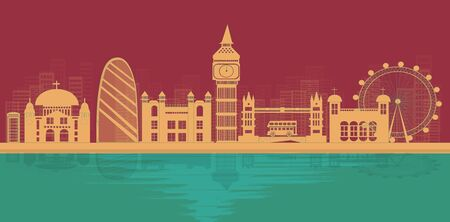 London, England With views of famous landmarks and world-class cities, tourism poster illustrations Paper cutting,Panorama of top world famous landmark of London - vector