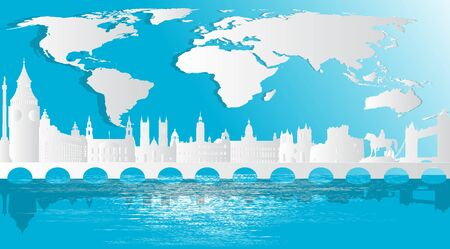 England, United Kingdom,Great Britain  With views of famous landmarks and world-class cities, tourism poster illustrations Paper cutting,Panorama of top world famous landmark of London - vector