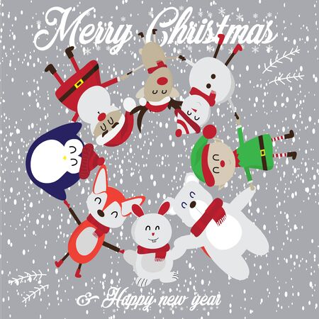 Merry Christmas and Happy New Year. Many cute cartoon characters such as Santa Claus, Reindeer, Elf, Bear, Step, Earth, Fox, Penguin, Rabbit, hold hands in a circle and have It is snowing - vector