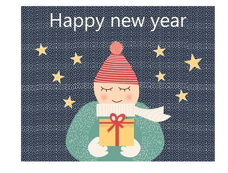 Cartoon boy giving a gift to his lover, happy new year - vector 向量圖像