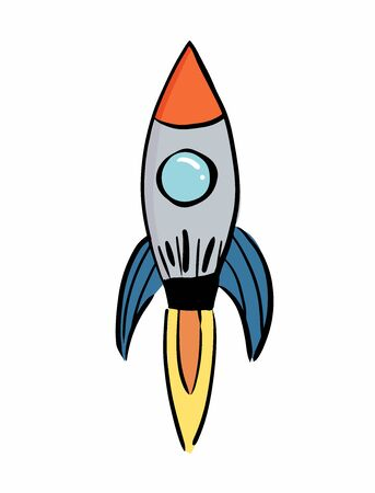 Rocket is firing up beautifully in a white background, rocket taking off - vector illustration