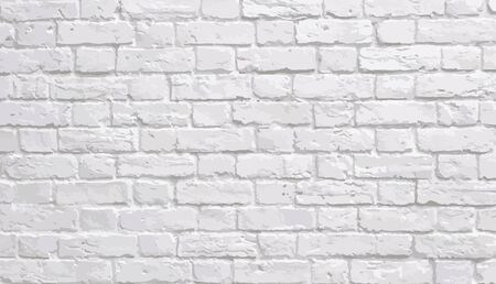 Abstract texture stained stucco, light gray, old White brick wall background Horizontal textures in the room, wallpapers - vector Ilustração