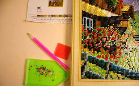 process diamond mosaic, photography, multi-colored scheme, stylus, rhinestones. needlework 免版税图像