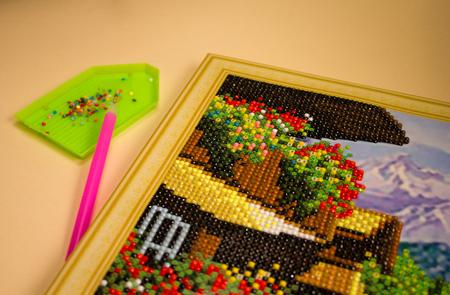 process diamond mosaic, photography, multi-colored scheme, stylus, rhinestones. needlework