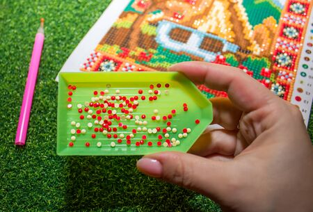diamond mosaic. set of rhinestones for gluing. large photo. Stock Photo
