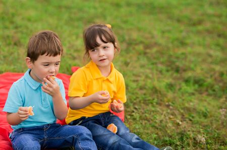 children - a boy in a blue T-shirt and a girl in yellow eat tangerines and communicate, sitting on a plaid. kids picnic.