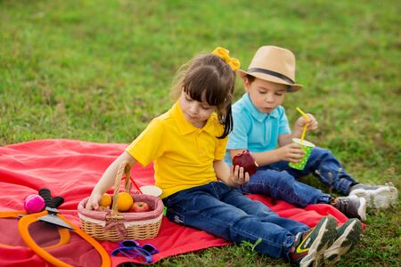 children - a boy in a blue T-shirt and wicker hat and a girl in a yellow drink juice and eat fruit on a picnic.