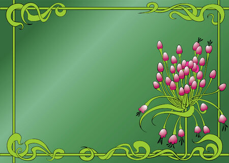 umbel: Vector floral ornament with pink flowers and frame on green background