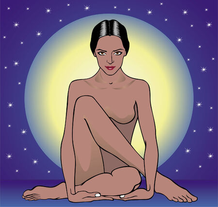 Vector illustration of woman sitting against the moon