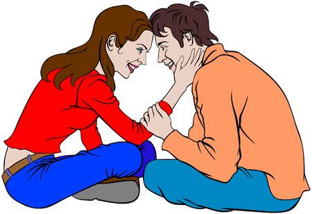 Vector illustration d'un couple heureux souriant assis les uns contre les autres