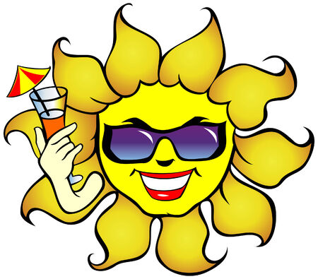 hot lips: Smiling sun with sunglasses a drink