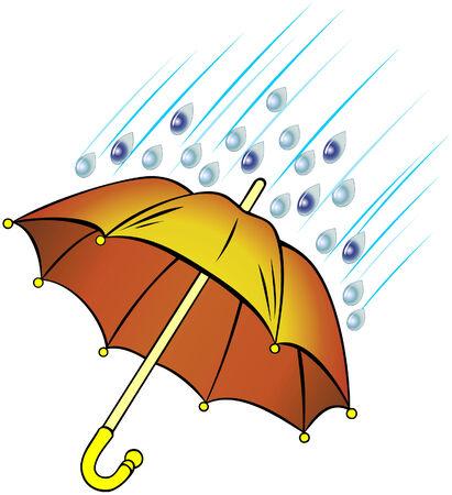 Orange umbrella under rain drops
