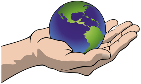 Vector illustration of a hand holding the globe