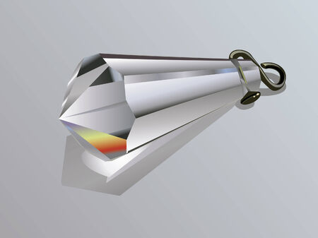 Vector illustration of a crystal pendant on gray