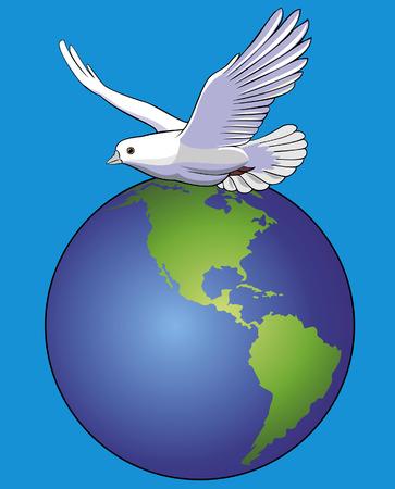 Vector illustration of white dove over globe