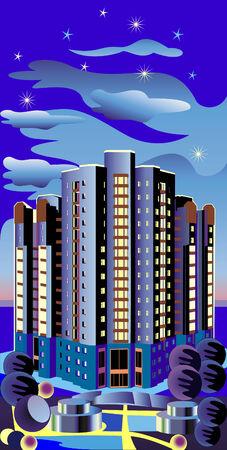 multistory: High building across the night sky