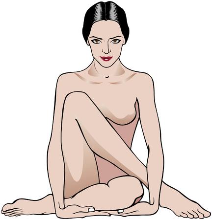Vector illustration d'une femme assise dans une pose détente