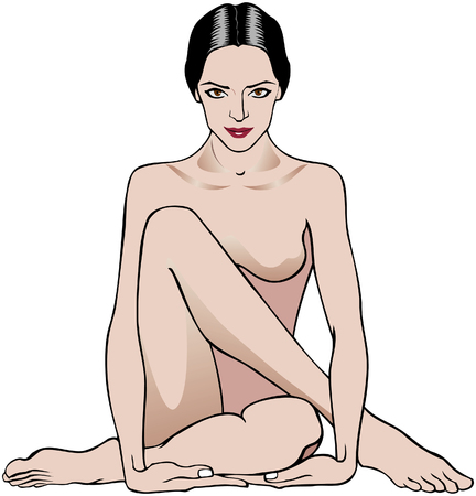 adult nude: Vector illustration of a woman sitting in a relaxation pose Illustration