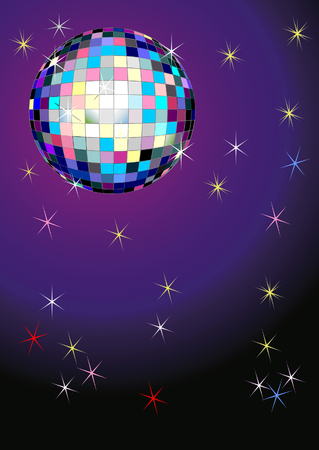 Vector illustration of a mirror ball on purple background with stars