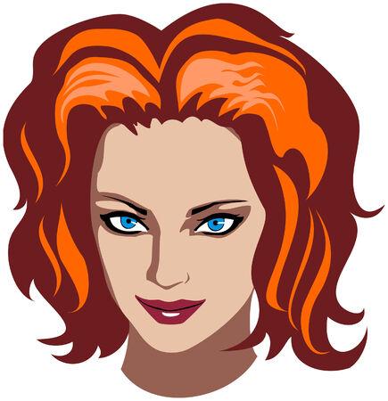 pelo ondulado: ilustraci�n vectorial de una mujer cara con el cabello ondulado de color rojo