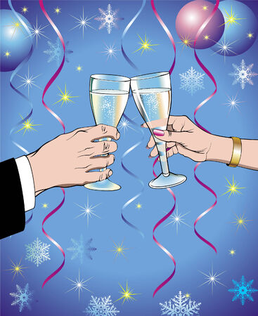 Two hands with champagne glasses on a New Year decoration background Illustration