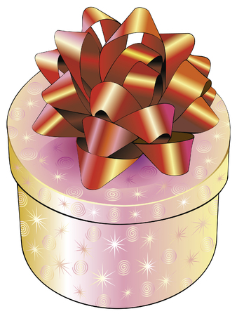 Round fancy box with a red bow Vector