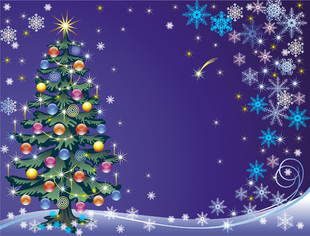 Holiday background with decorated christmas tree, snowflakes and stars Vector