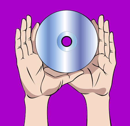 compact disc: Two hands holding a compact disc