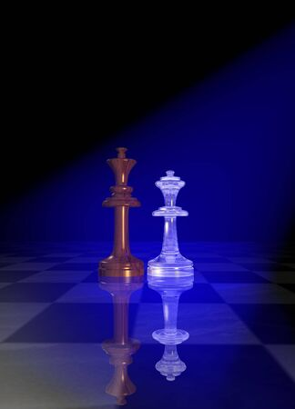 King and queen chessmen on a chessboard floor under blue light photo