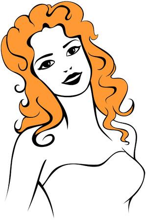 redhead woman: Decorative delineato disegno di una donna rossa