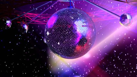 reflection in mirror: Glowing mirror ball. Background illustration based on 3d rendering Stock Photo