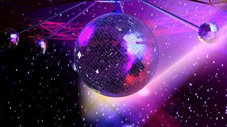 mirror ball: Resplandeciente bola de espejo. Ilustraci�n de fondo basado en la representaci�n 3d  Foto de archivo