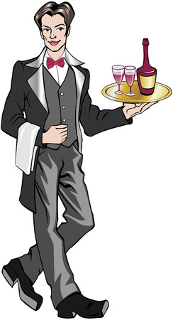 illustration of a waiter carrying a tray of wine
